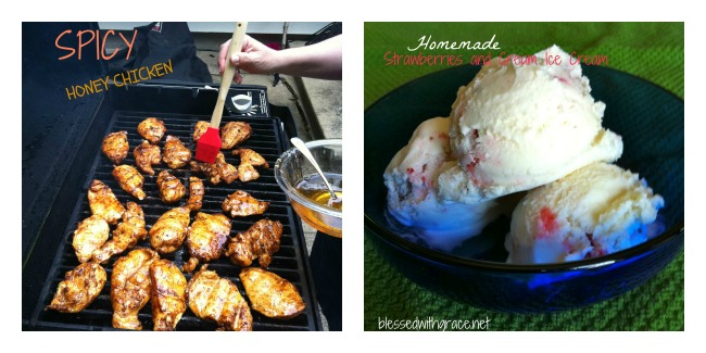 grilled chicken and homemade ice cream