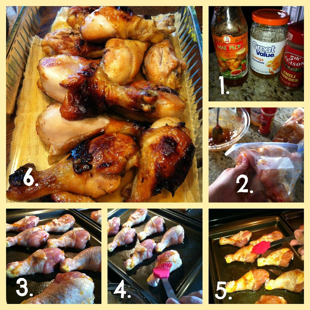 Tasty spicy orange glazed chicken legs
