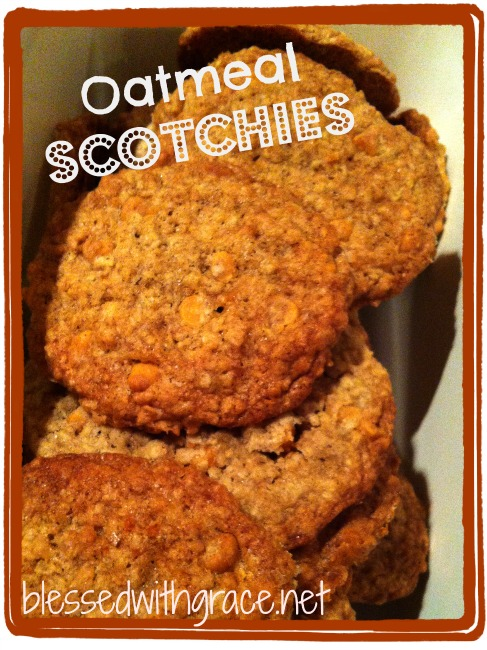 Oatmeal Scotchies Cookies - recipe at blessedwithgrace.net