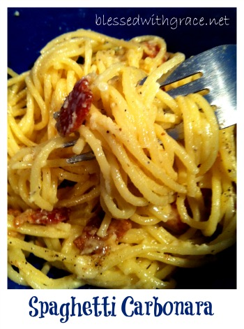 Spaghetti Carbonara at Blessed With Grace Blog