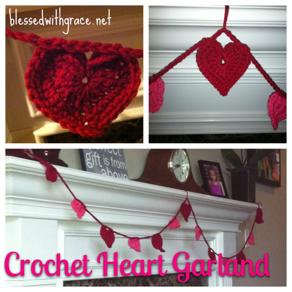 Crochet Valentine Heart Garland - BlessedWithGrace.net Blog